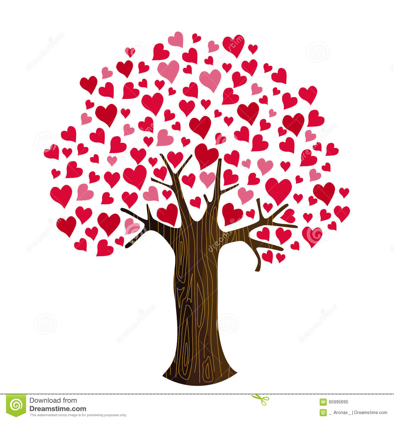 Valentine s day hearts on tree clip art stock vector