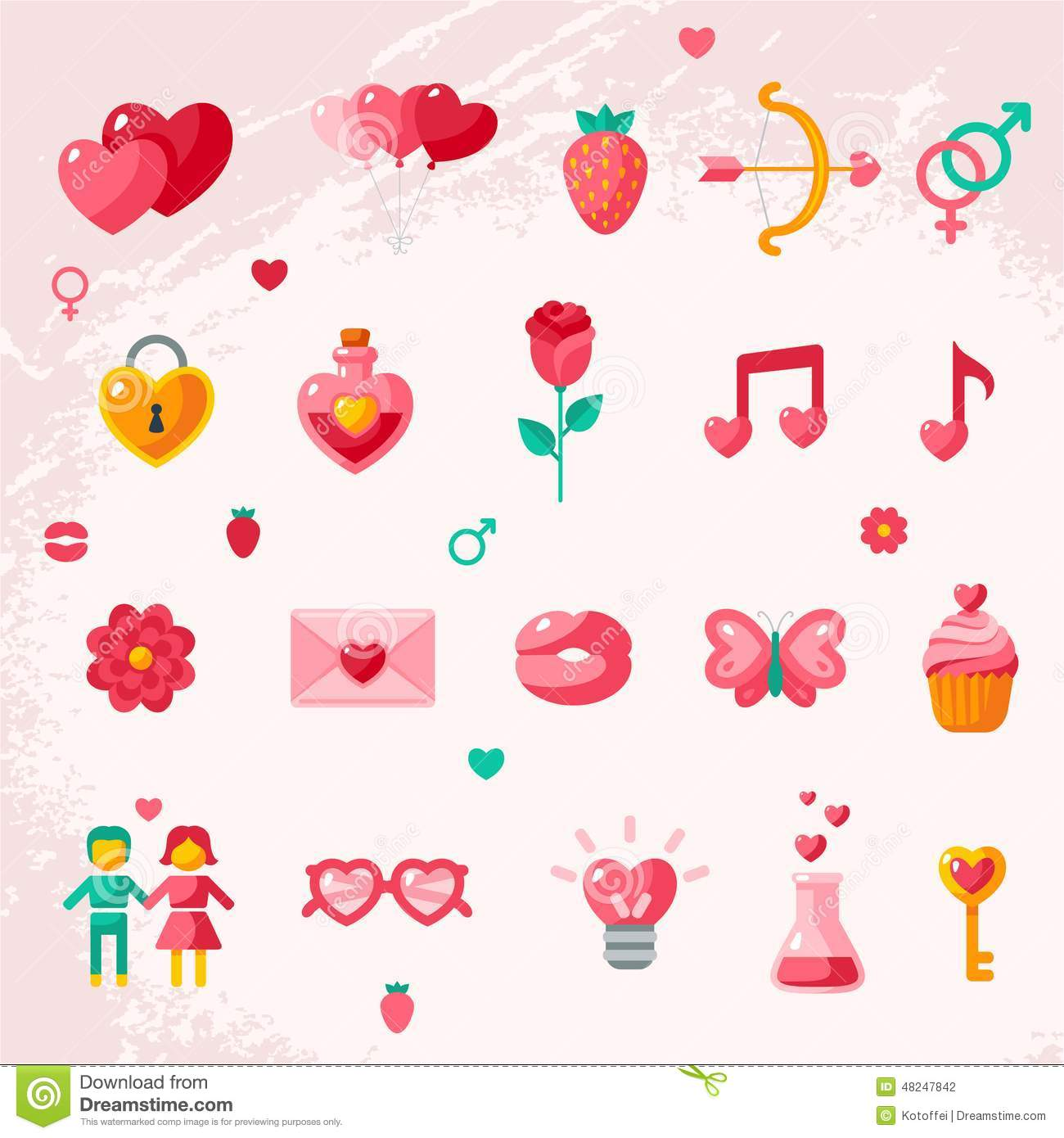 Valentines Day Icons Elements Collection Stock Vector
