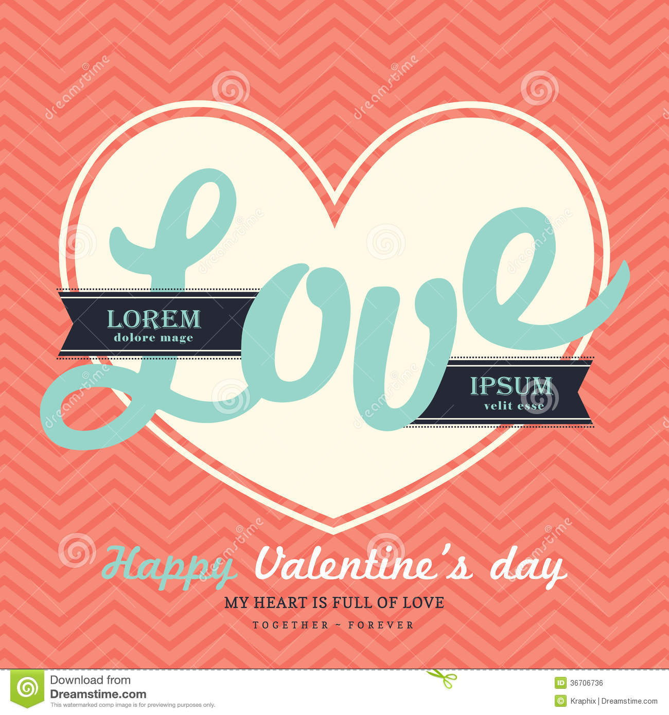 Valentine S Day Invitation Card Template With Love Stock Vector