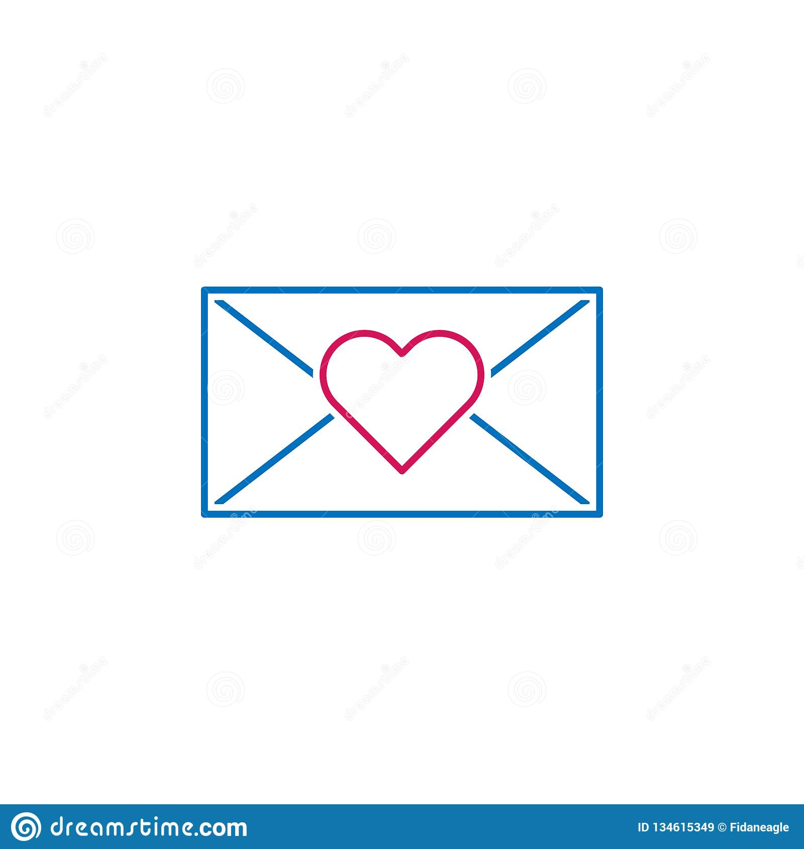 Valentine`s Day, Letter, Heart Icon. Can Be Used For Web, Logo