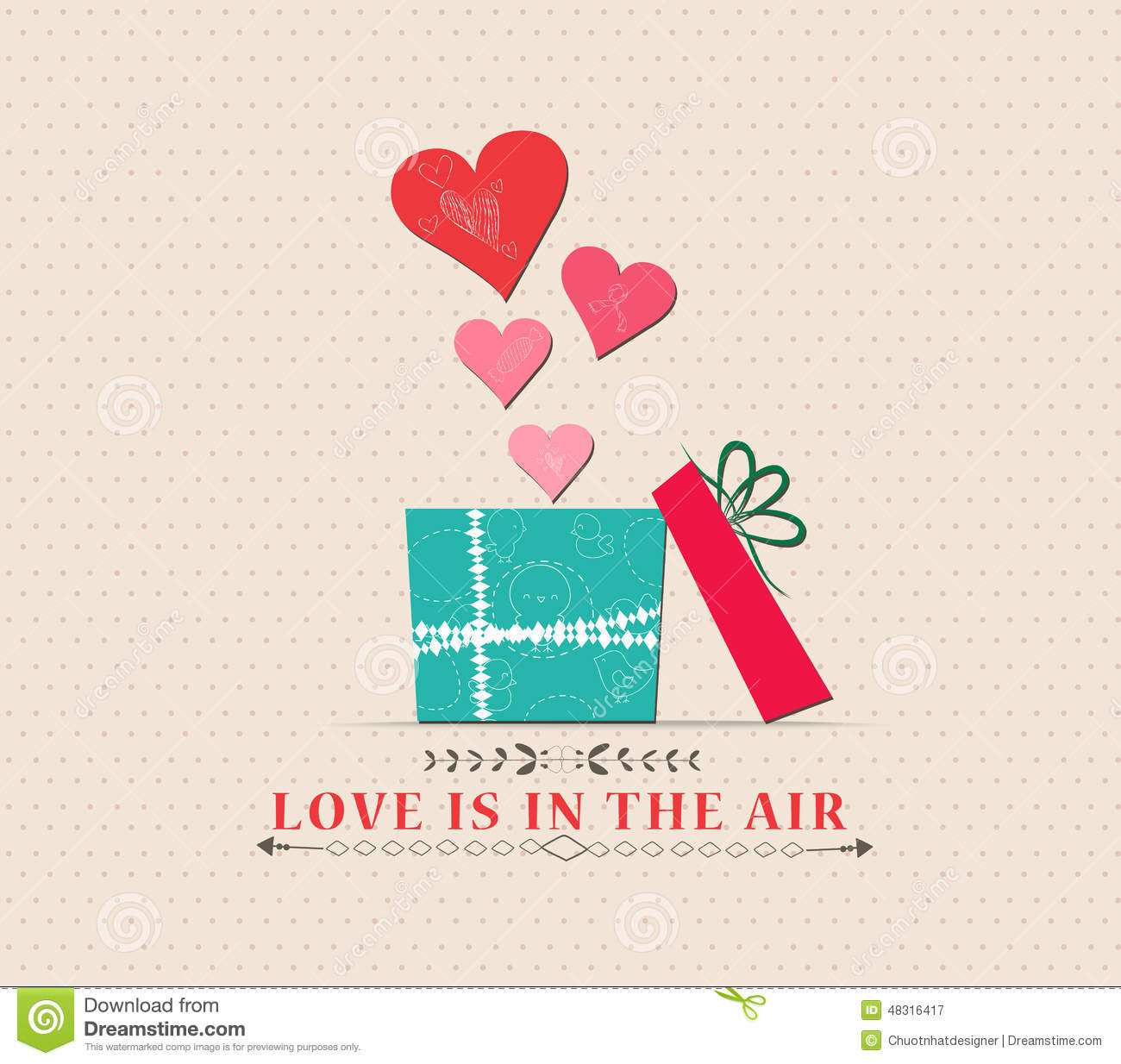 Valentine S Day Love Is In The Air With Open Gift Stock Illustration