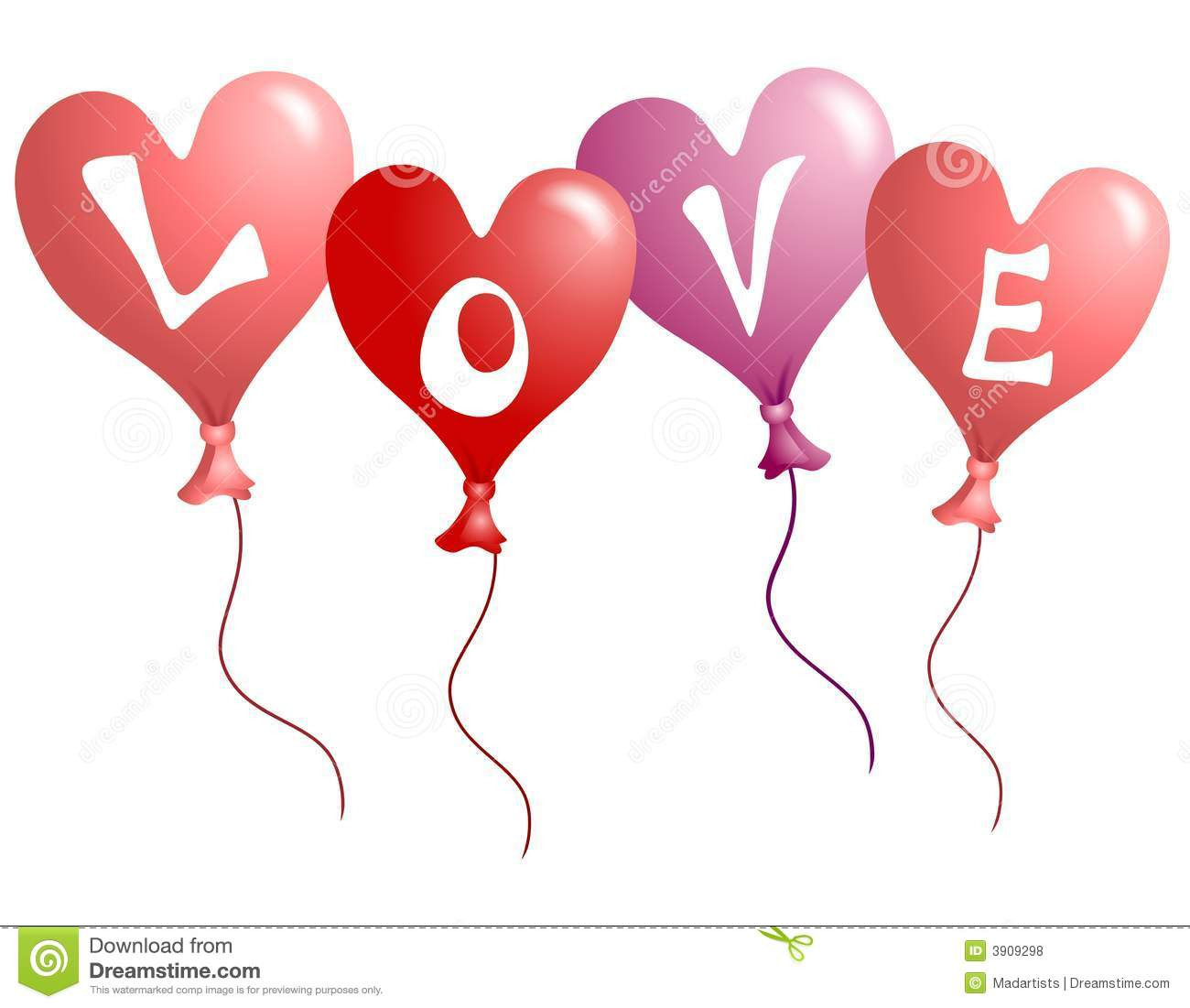 valentine's day love heart shaped balloons stock illustration