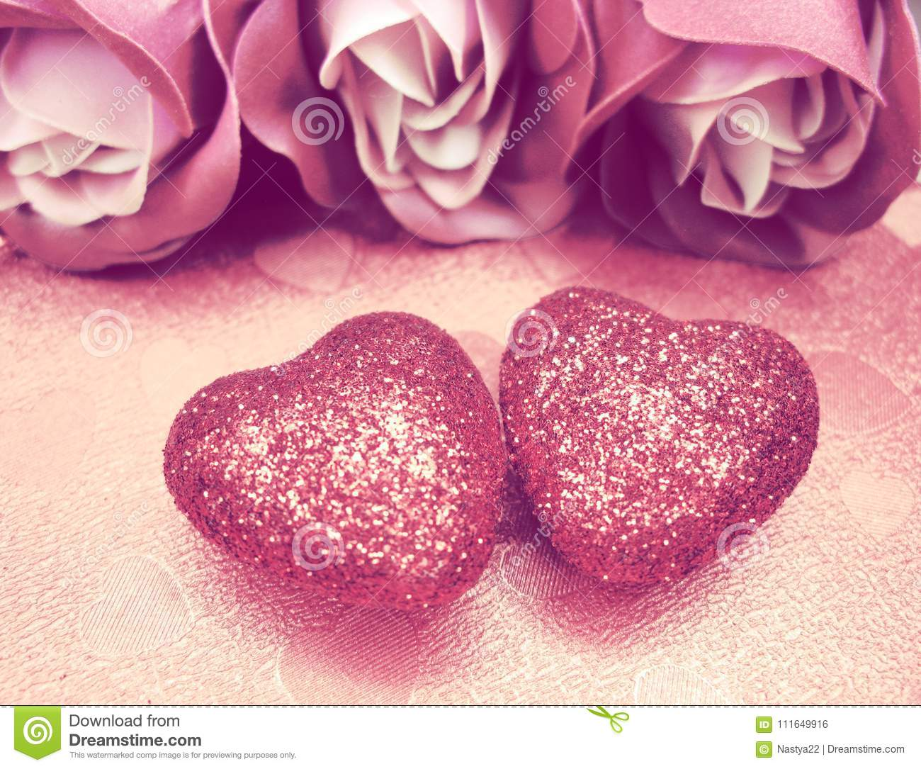 Valentine`s Day Love Holiday Concept Hearts With Roses On ...