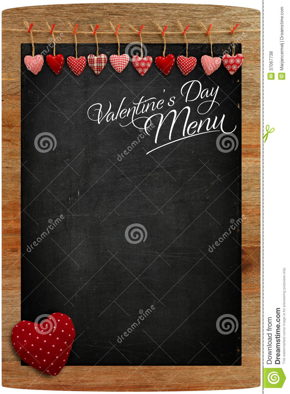 Valentine S Day Menu Chalkboard Fabric Love Hearts Hanging On Wo