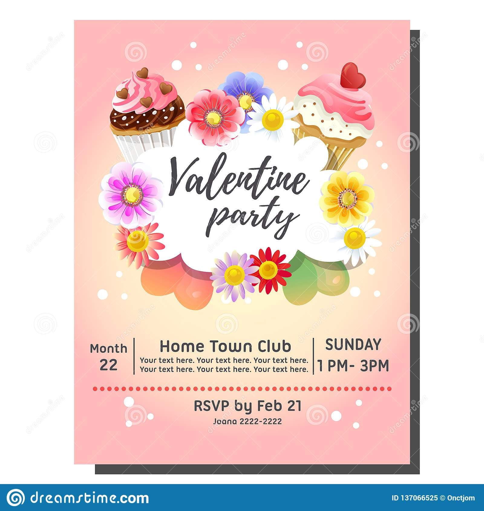 Valentine S Day Party Invitation Card With Colorful Cupcake