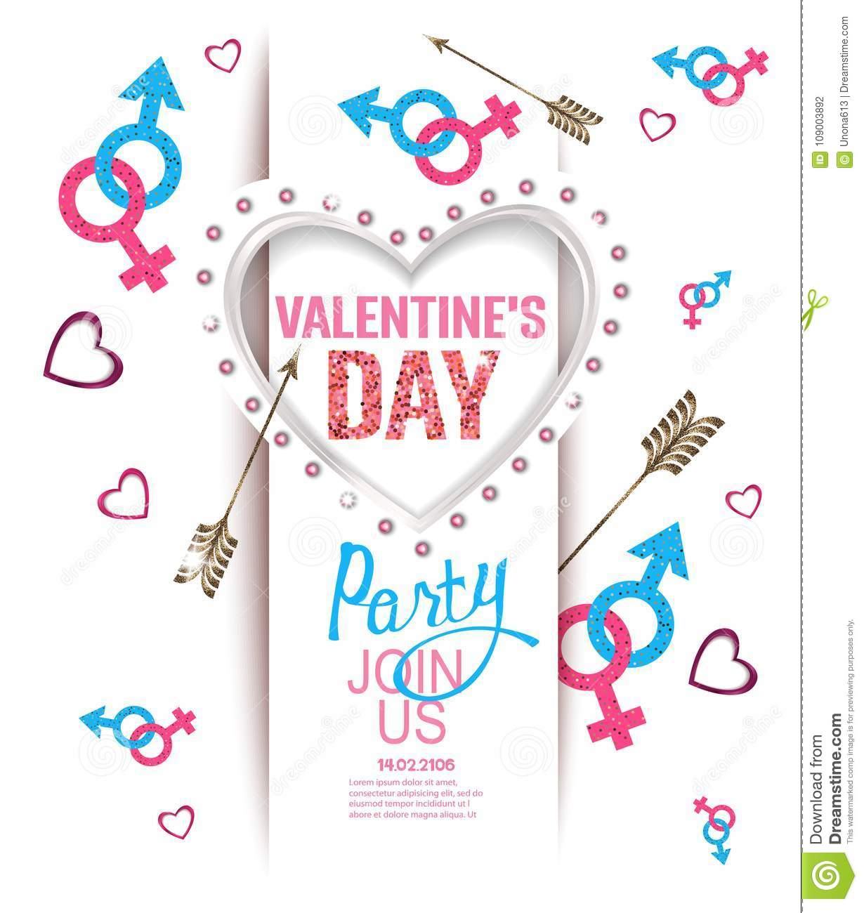 Valentine S Day Party Invitation Card With Heart Shaped Light Frame