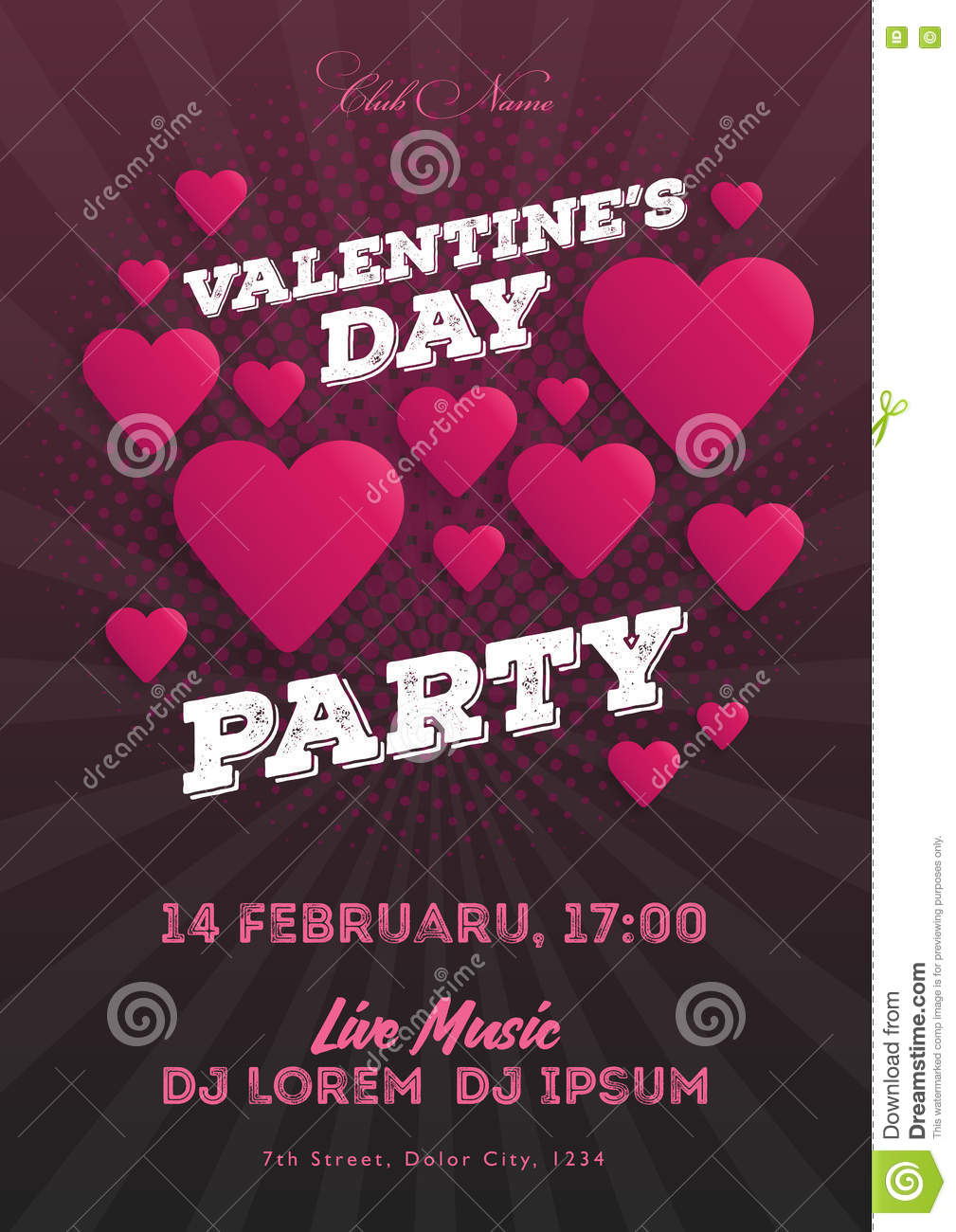 valentine s day party invitation flyer the template for the club