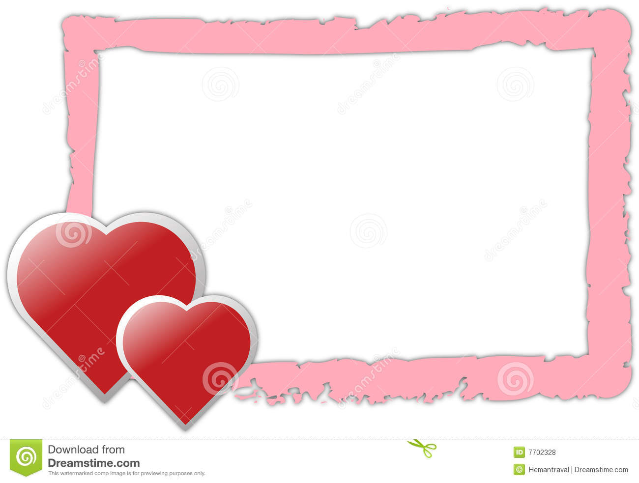 Valentine's Day Pink Border With Hearts and blank space for writing ...