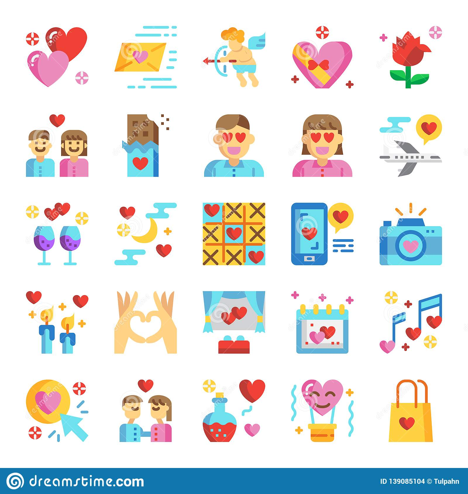 Valentine`s day pixel perfect flat icons