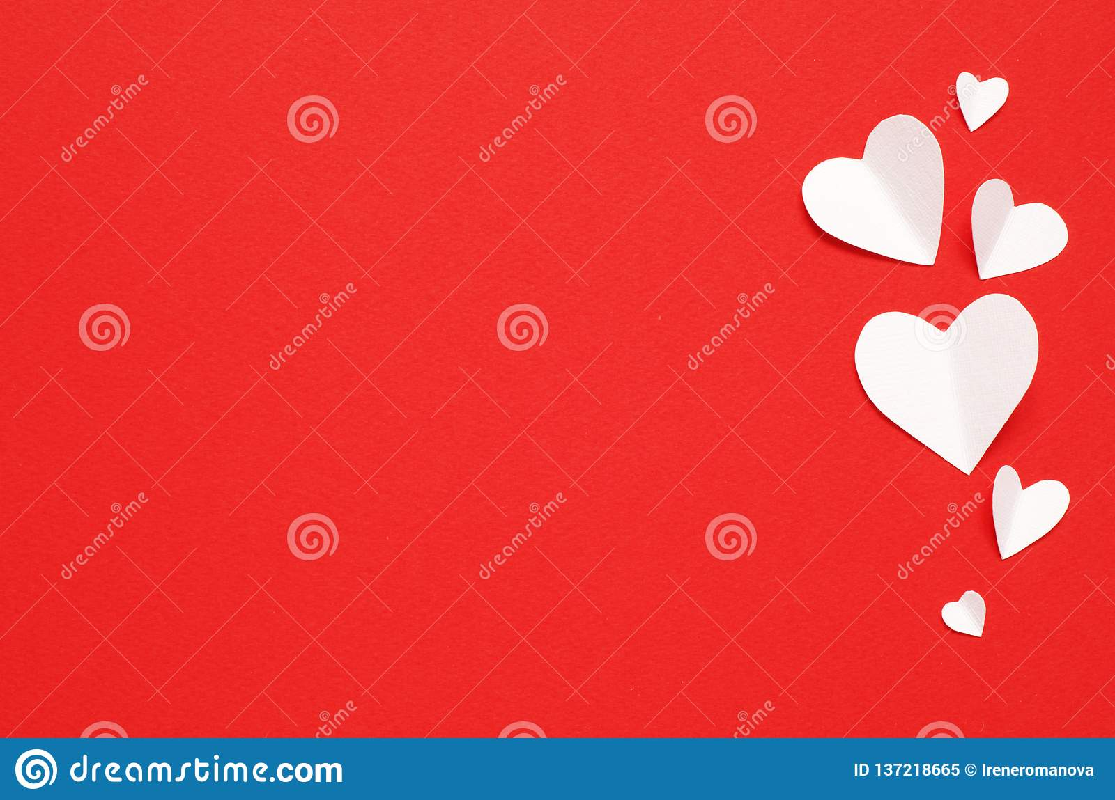 Valentine`s Day postcard. Love concept for mother`s day and valentine`s day. Top view.