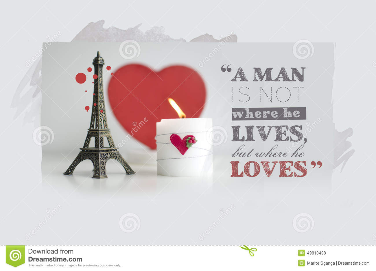 Valentine s Day Quotes with Candle, Hearth and Eiffel Tower Souv