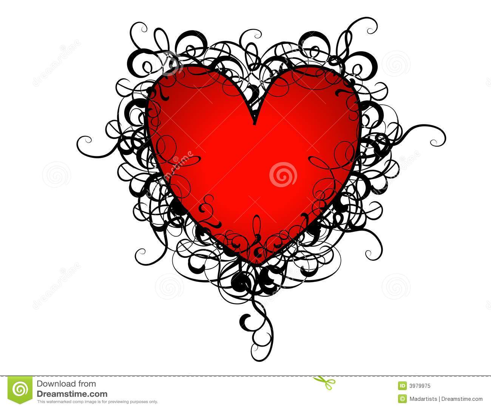 Heart Swirl Design Clip Art A clip art illustration