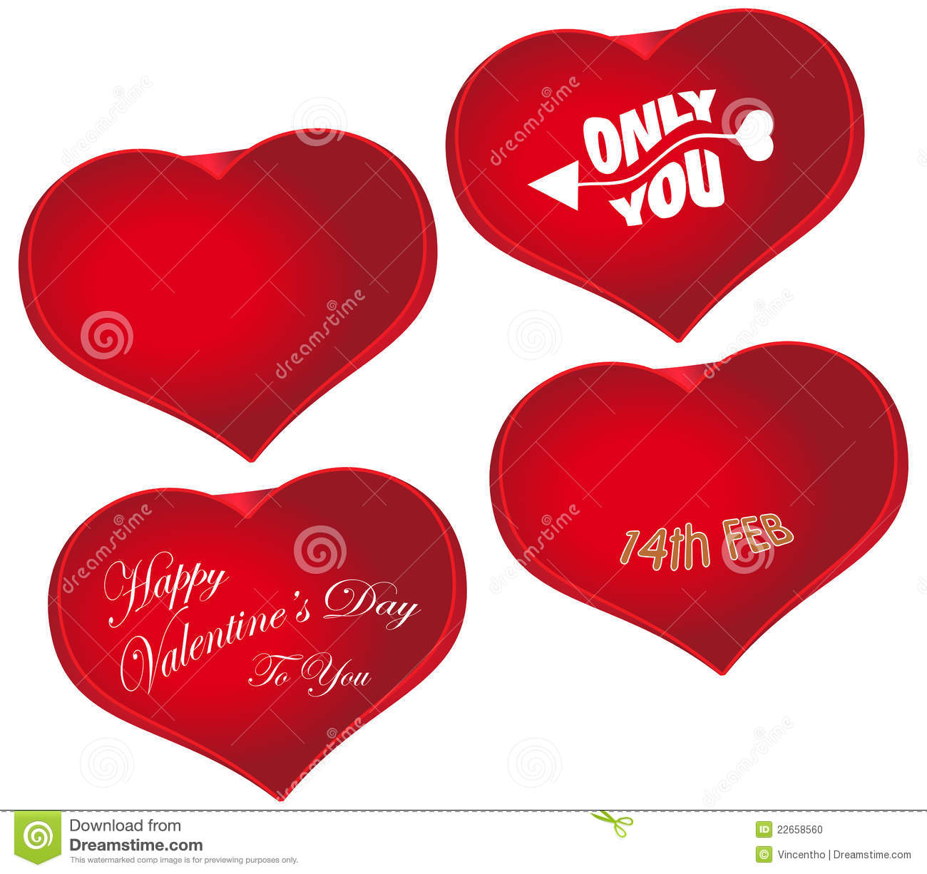 Valentines Day Red Heart Shape Love Symbol Stock Vector