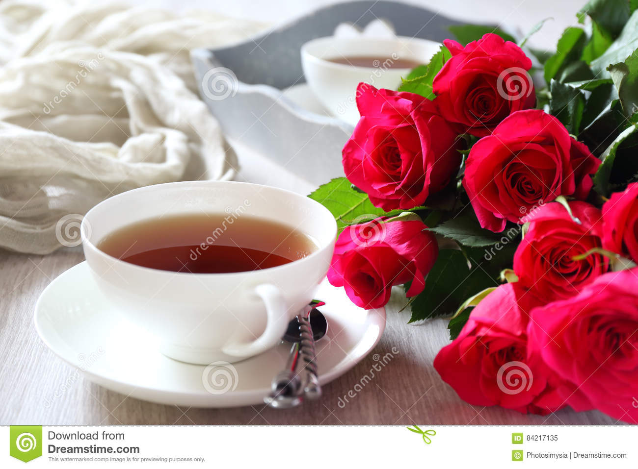 Valentine`s Day: Romantic Morning Tea For Two Stock Image