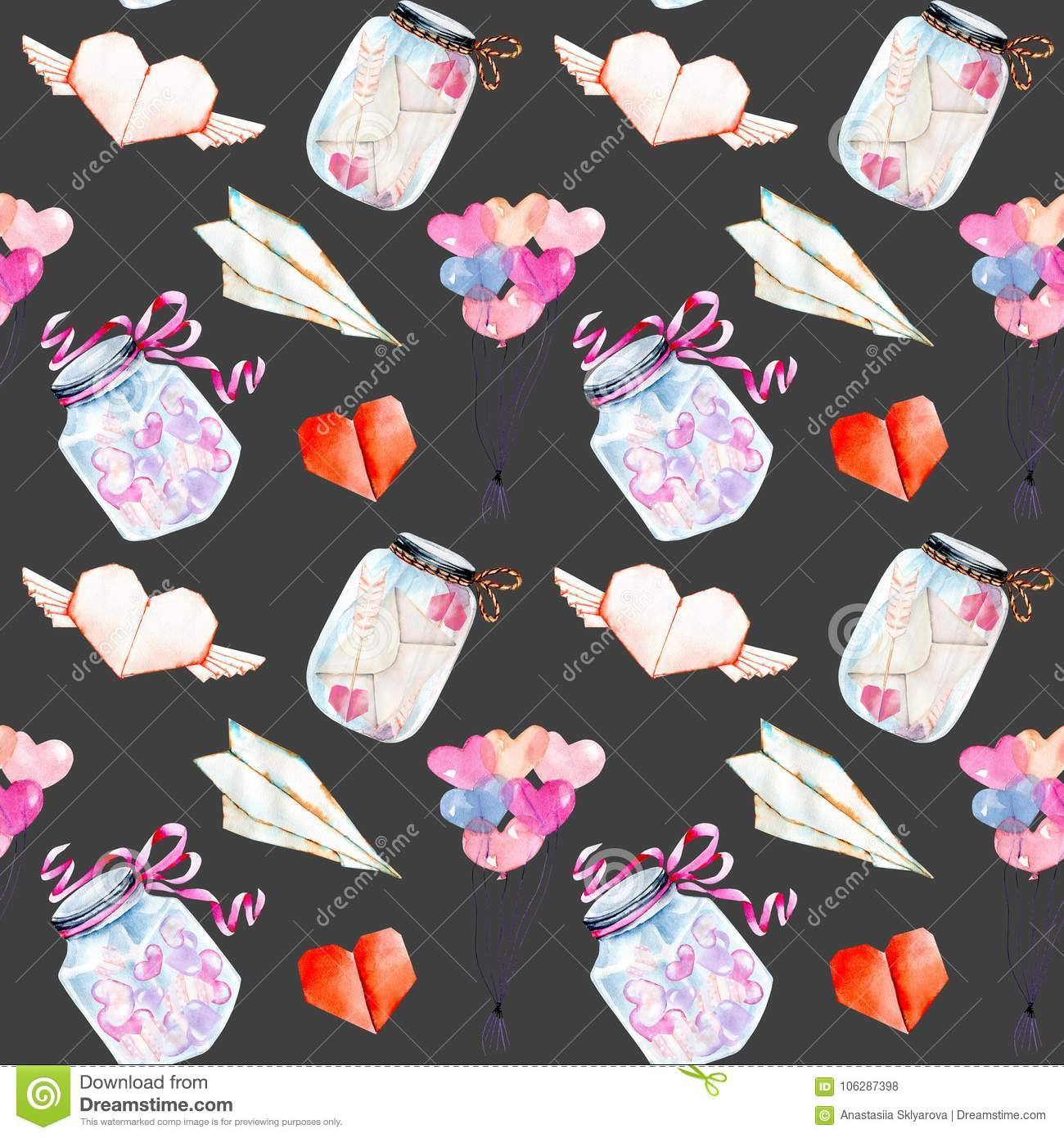 Valentines Day Romantic Watercolor Elements Seamless Pattern Air