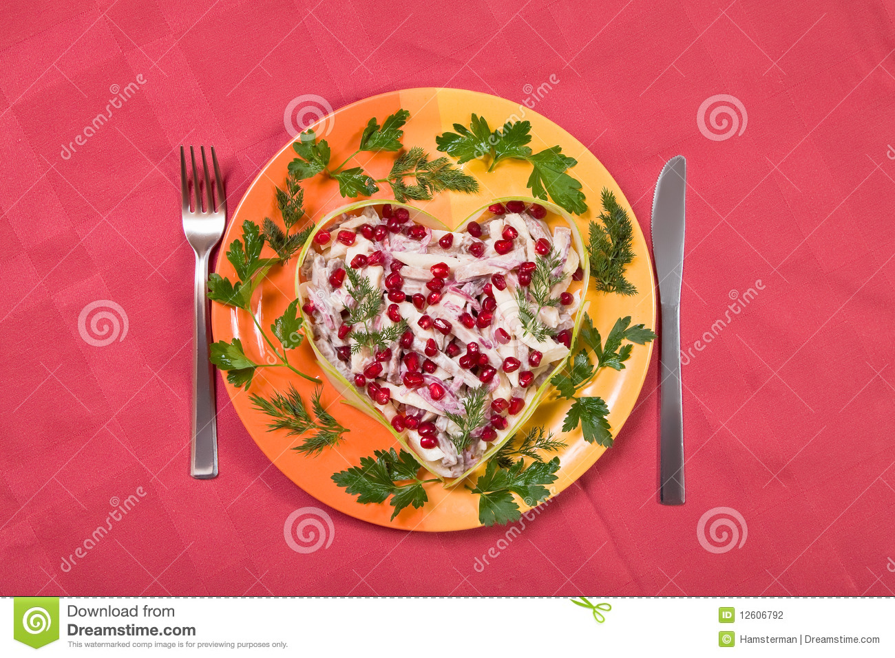 Valentine's day salad with beef tongue, onion and apple in heart shape ...