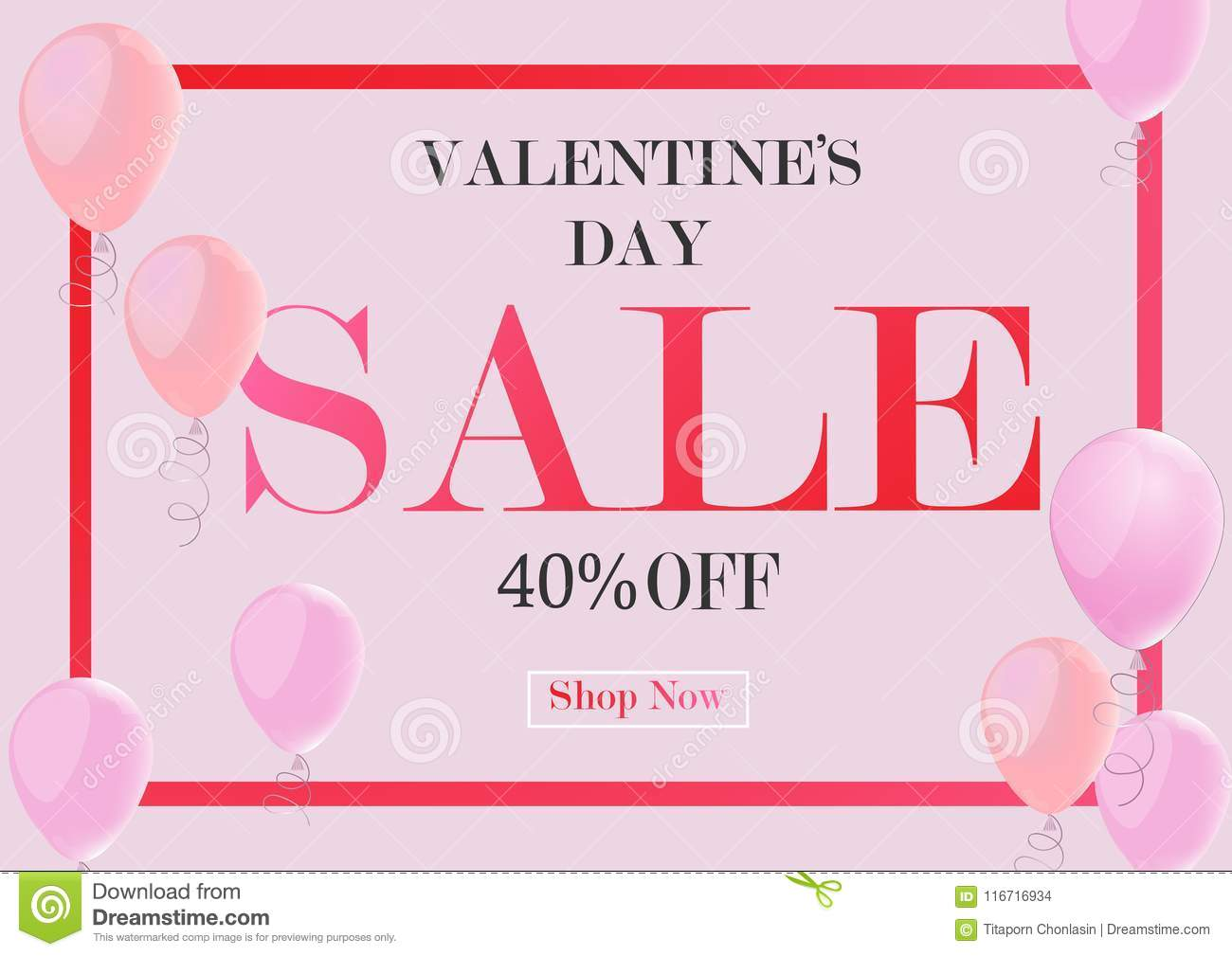 Valentines Day Sale Background With Pink Balloon Vector Illust
