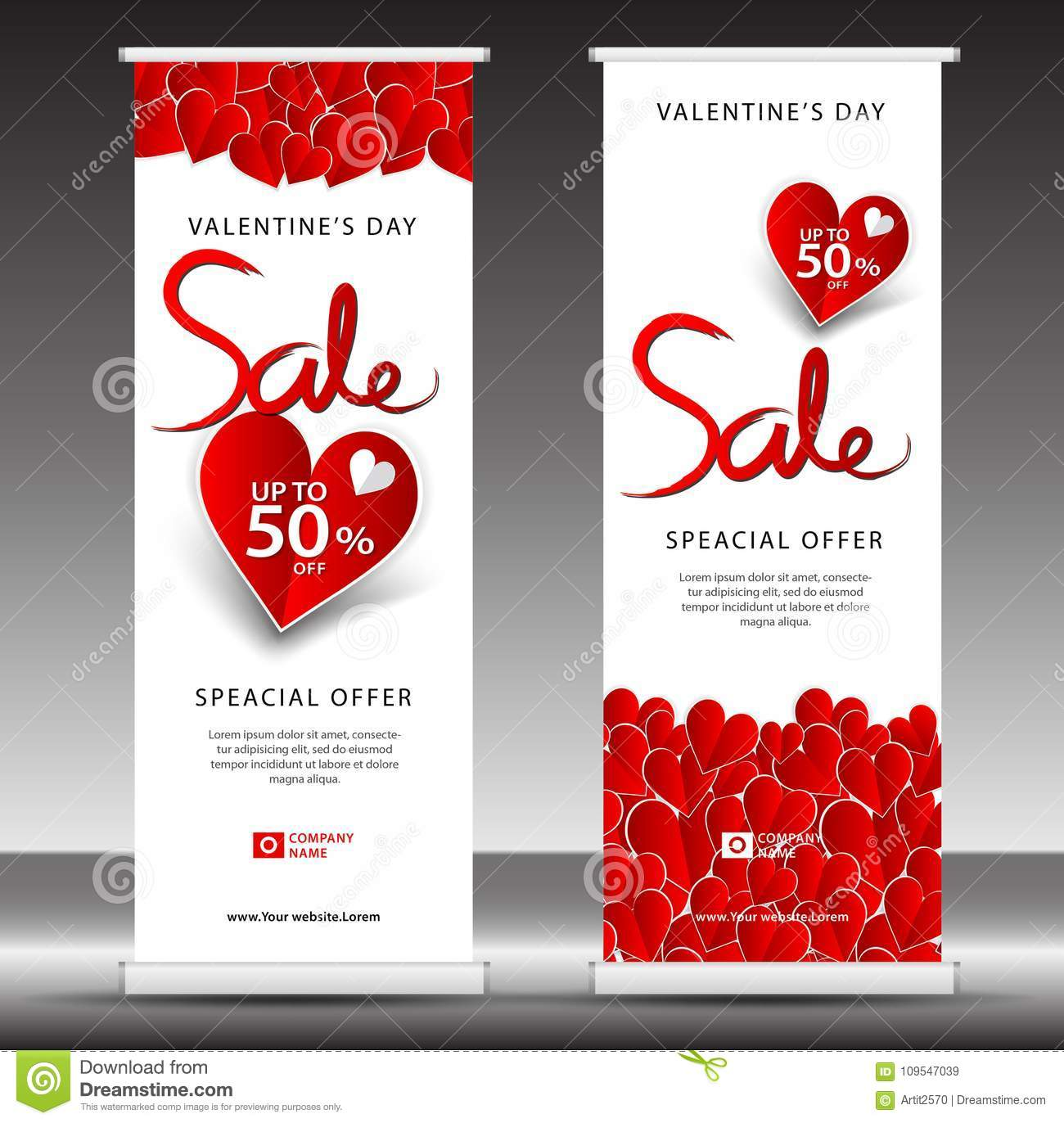 Valentine`s Day Sale Roll Up Banner Template, Flyer Layout