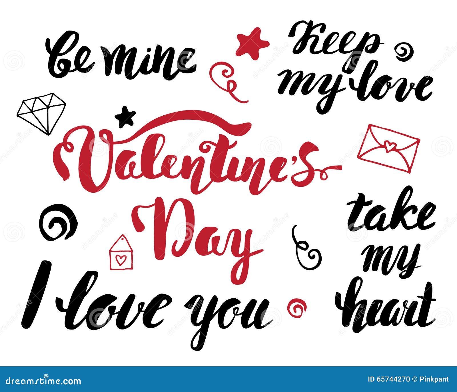 Valentine's Day Phrases Stock Vector - Image: 65806407