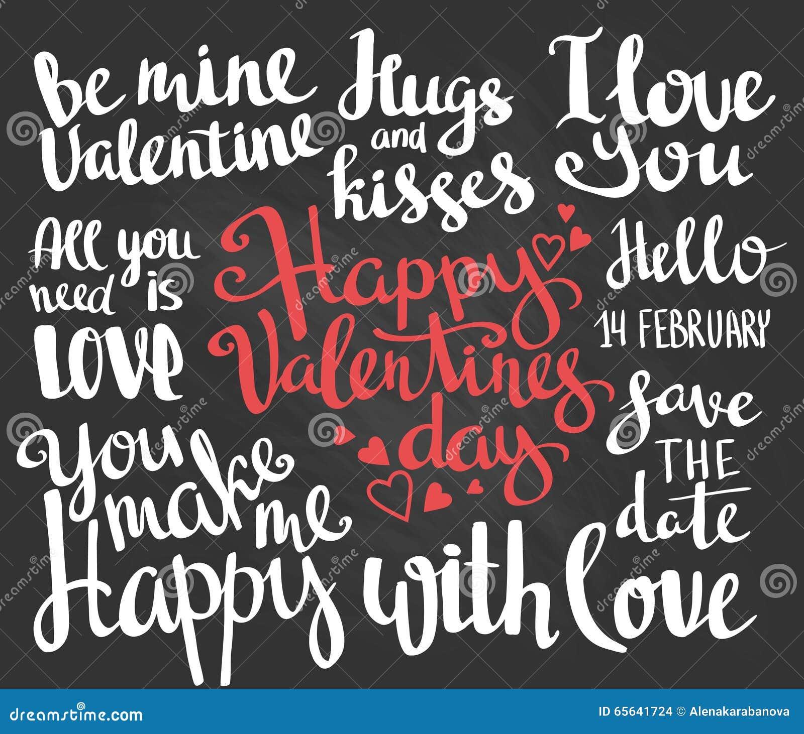 Valentine\'s Day. Set Of Valentine\'s Stylish Trendy Calligraphic ...
