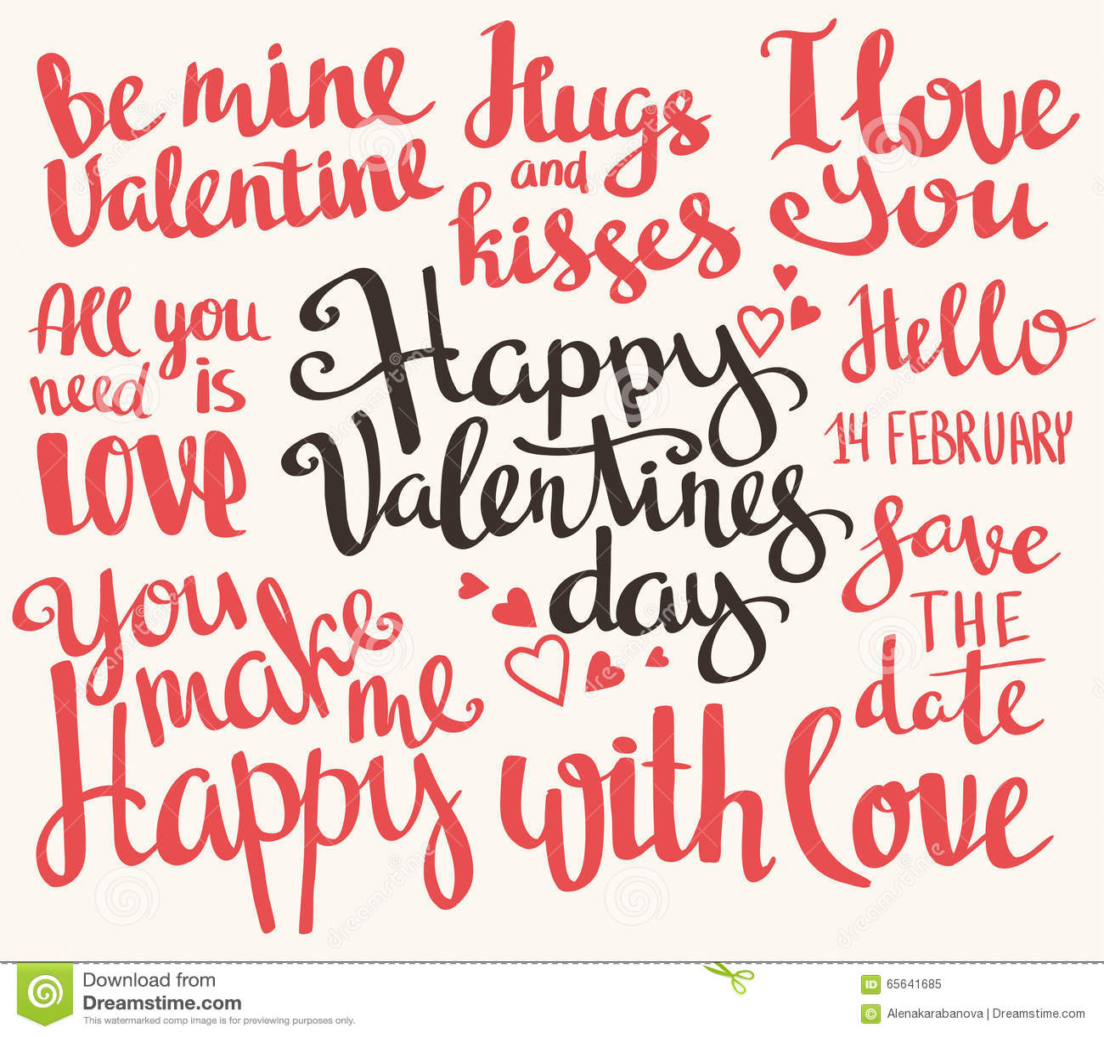 Valentine s Day. Set of Valentine s stylish trendy calligraphic headlines. Vector illustration.