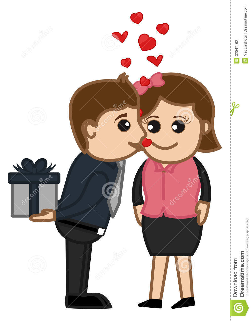 Valentine S Day Surprise Gift Cartoon Characters Stock Vector