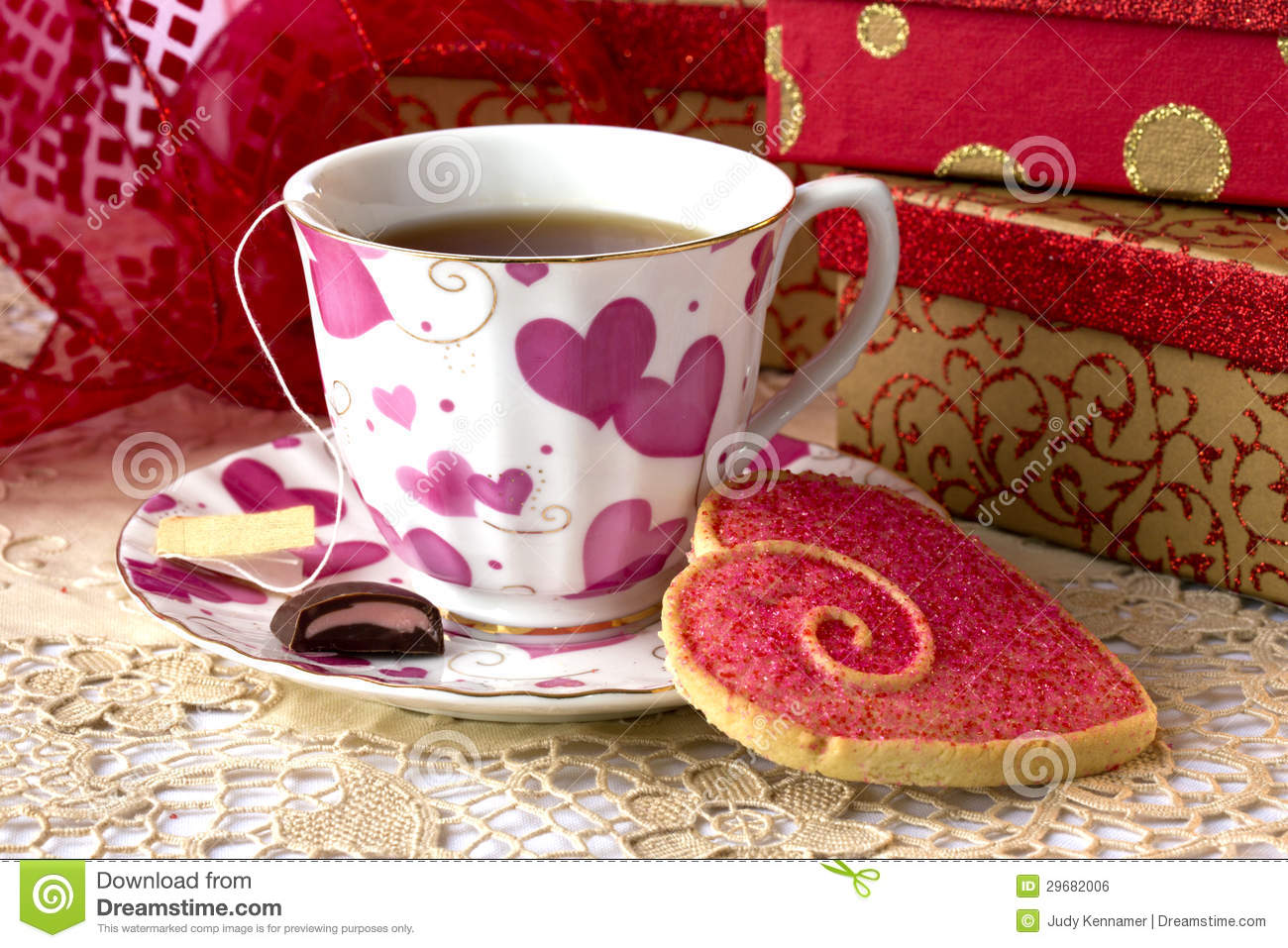 valentine u0027s day tea and cookie royalty free stock image image