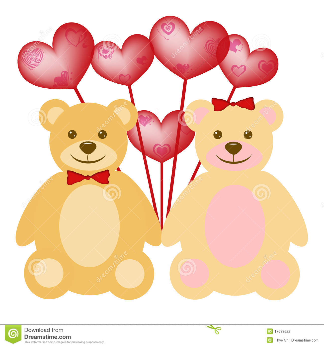 Valentine S Day Teddy Bear Couple With Balloons