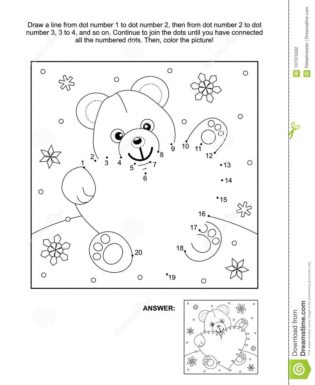 Valentine`s Day Dot-to-dot And Coloring Page With Teddy Bear And ...