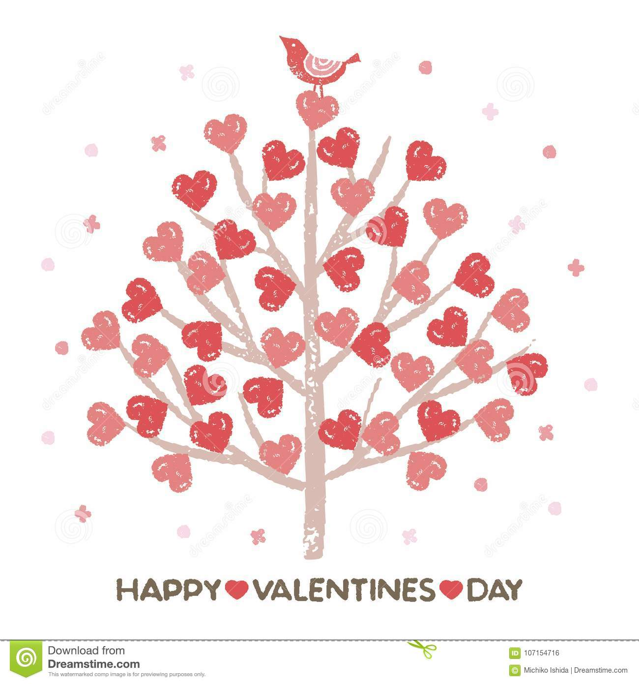 Valentines day tree with heart shaped leaves stock vector download valentines day tree with heart shaped leaves stock vector illustration of mightylinksfo
