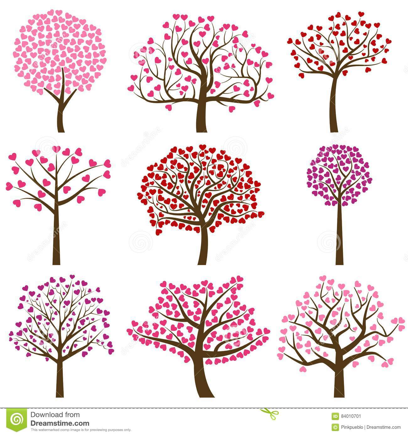 Valentines Day Tree Silhouettes With Heart Shaped Leaves Vector