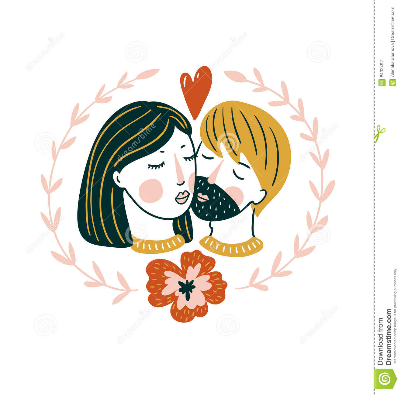 Valentine`S Day Vector Card. Lovely Girl And Boy Kiss In ...