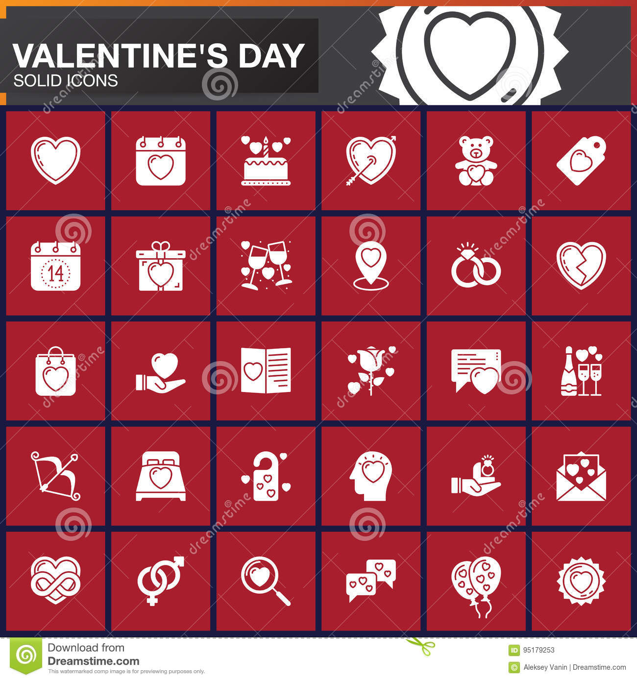 Valentine`s Day Vector Icons Set, Modern Solid Symbol