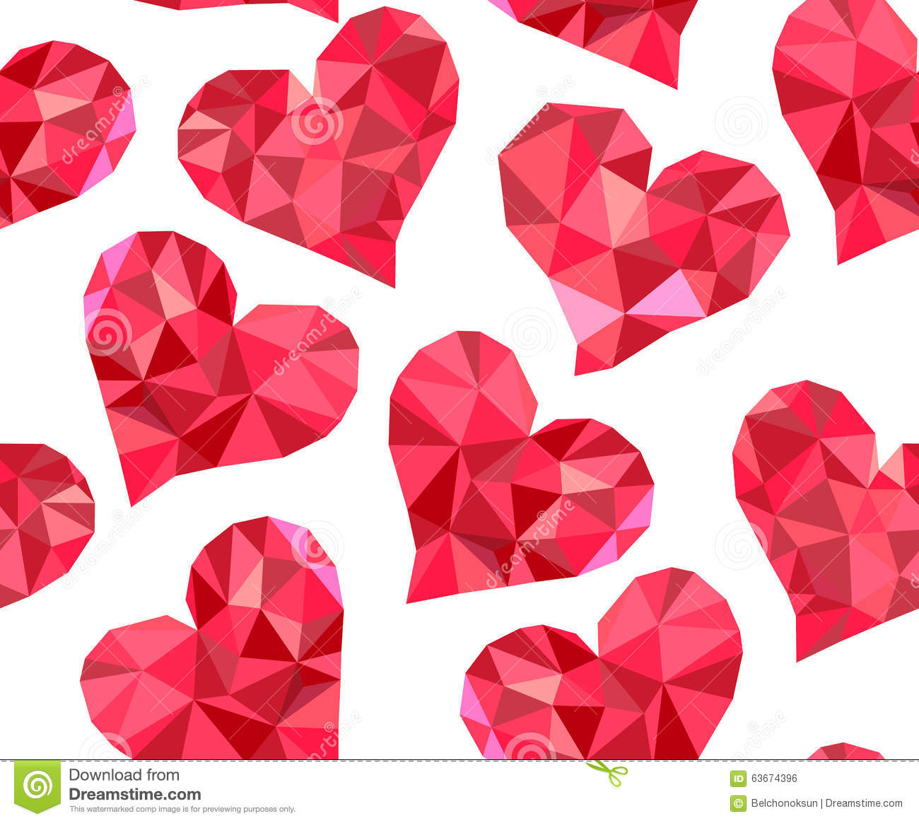 Valentines Day Vector Seamless Pattern With Red Polygonal