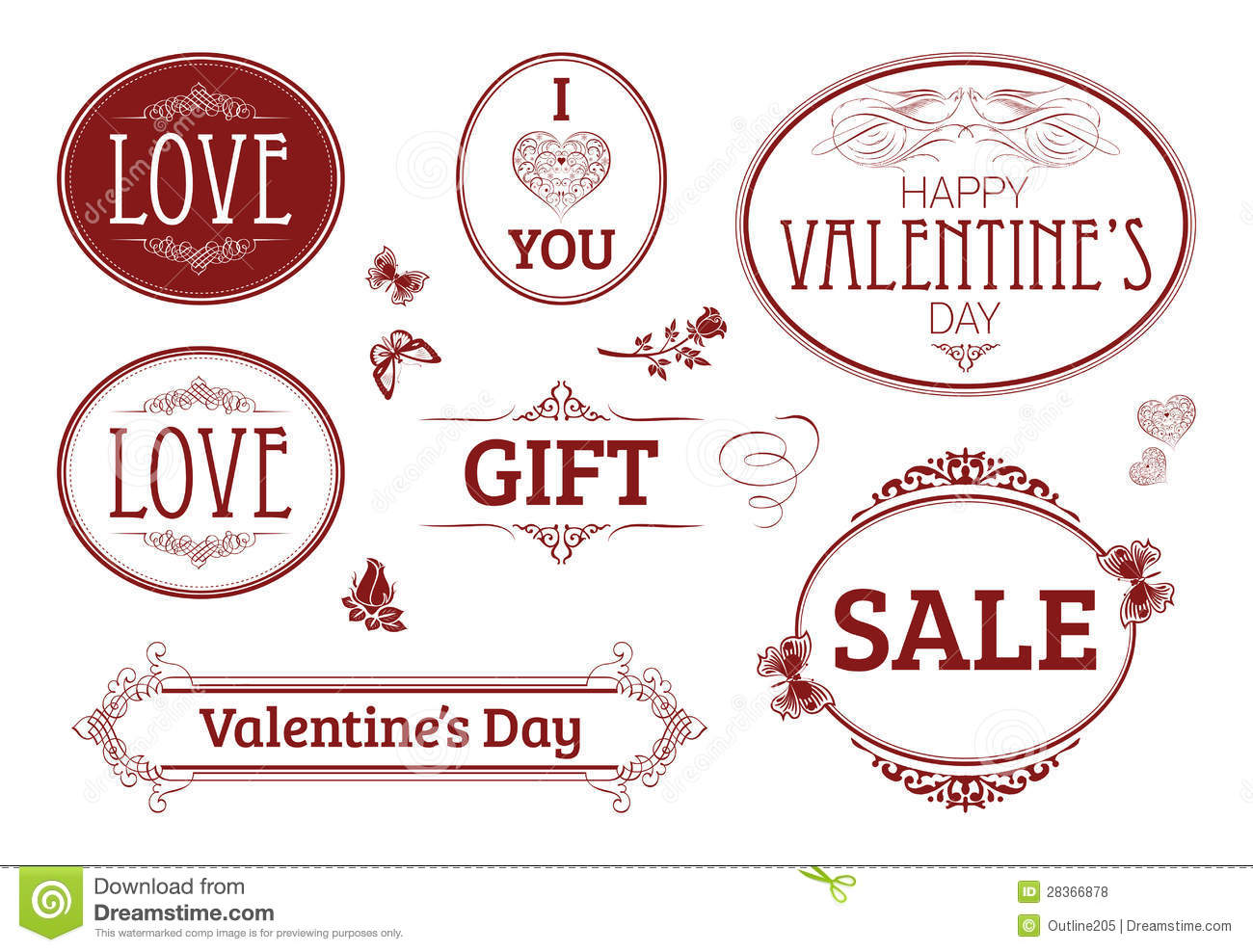Valentines Day Vintage Banners Labels Royalty Free Photos – Valentine Day Label