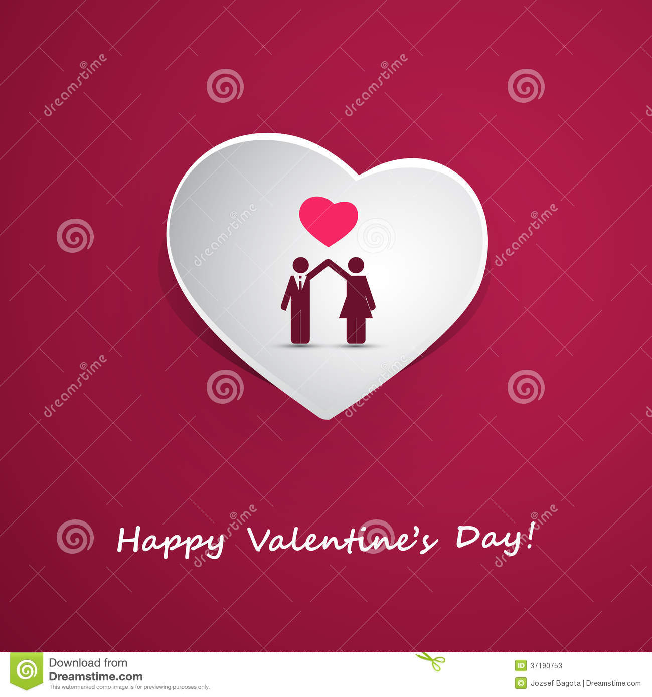 Valentine S Day Or Wedding Card Design With Couple Stock Vector
