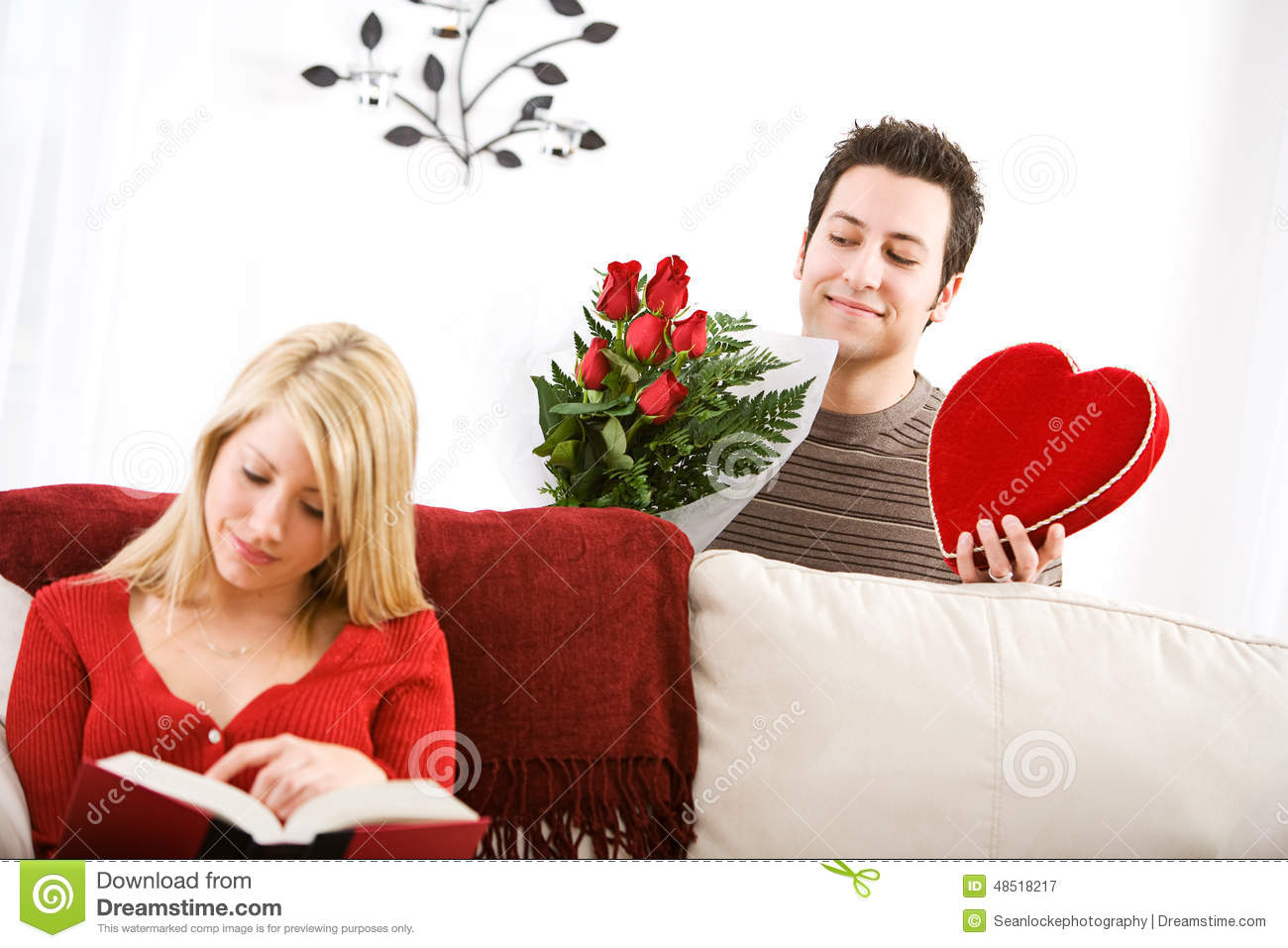 Valentine S Man Sneaks Up With Valentine Gifts For Girlfriend Stock