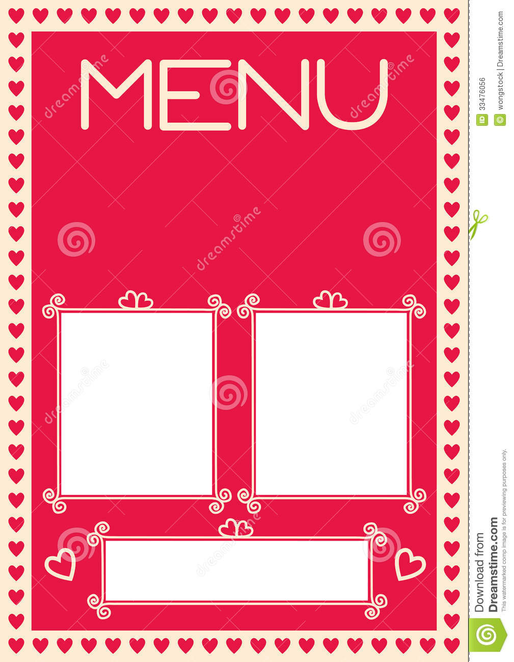 Valentine's Menu Template With Heart Borders Royalty Free Stock Image ...