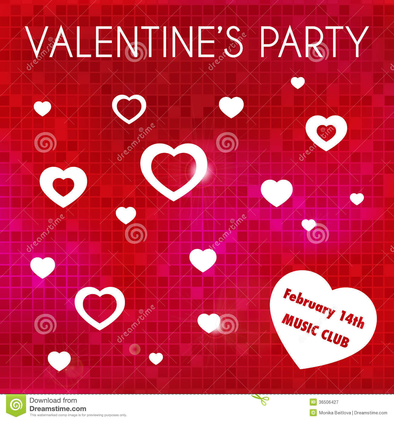 Valentine\'s Party Invitation Stock Vector - Illustration of modern ...