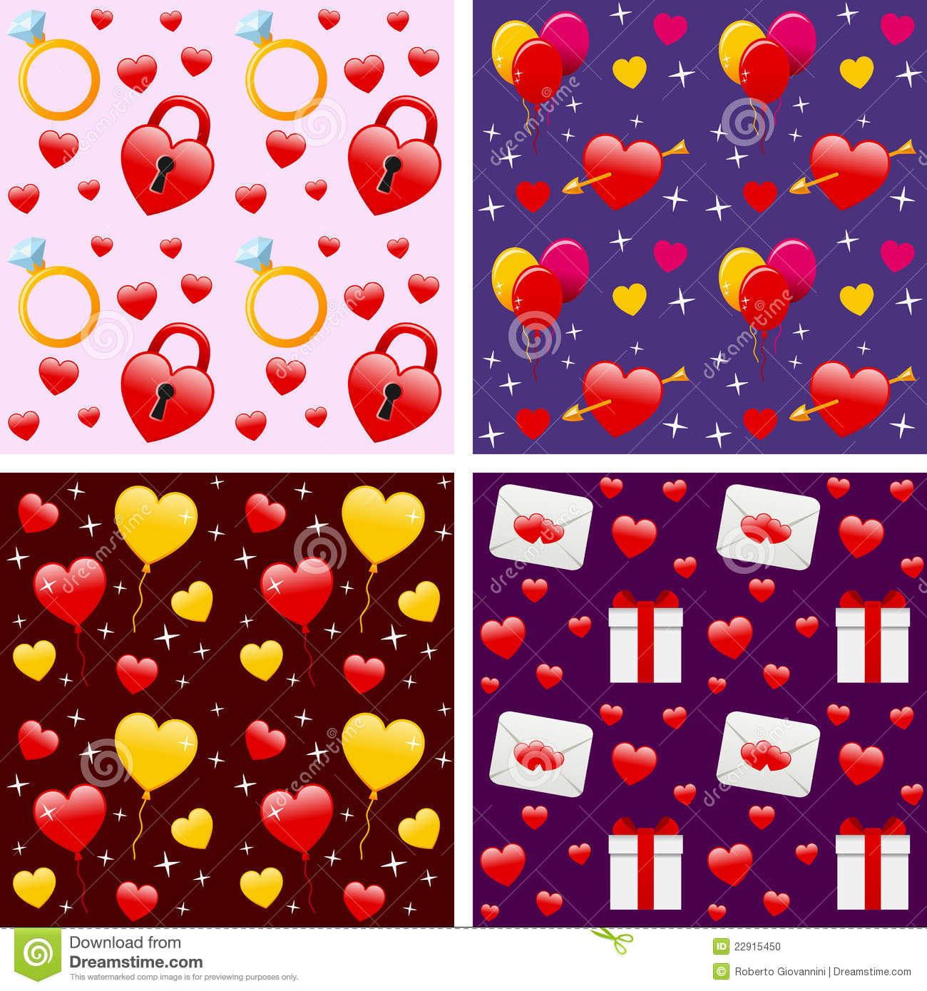 Download Valentine S Seamless Patterns Stock Vector - Illustration of february, artistic: 22915450