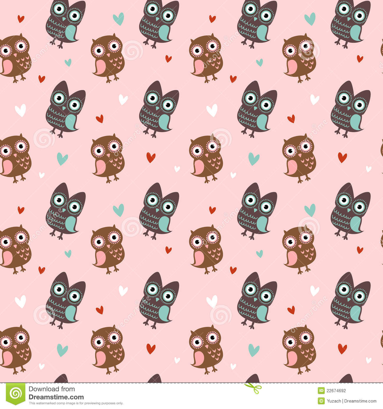 Cute Pink Owl Wallpaper With Owls And Hearts Stock