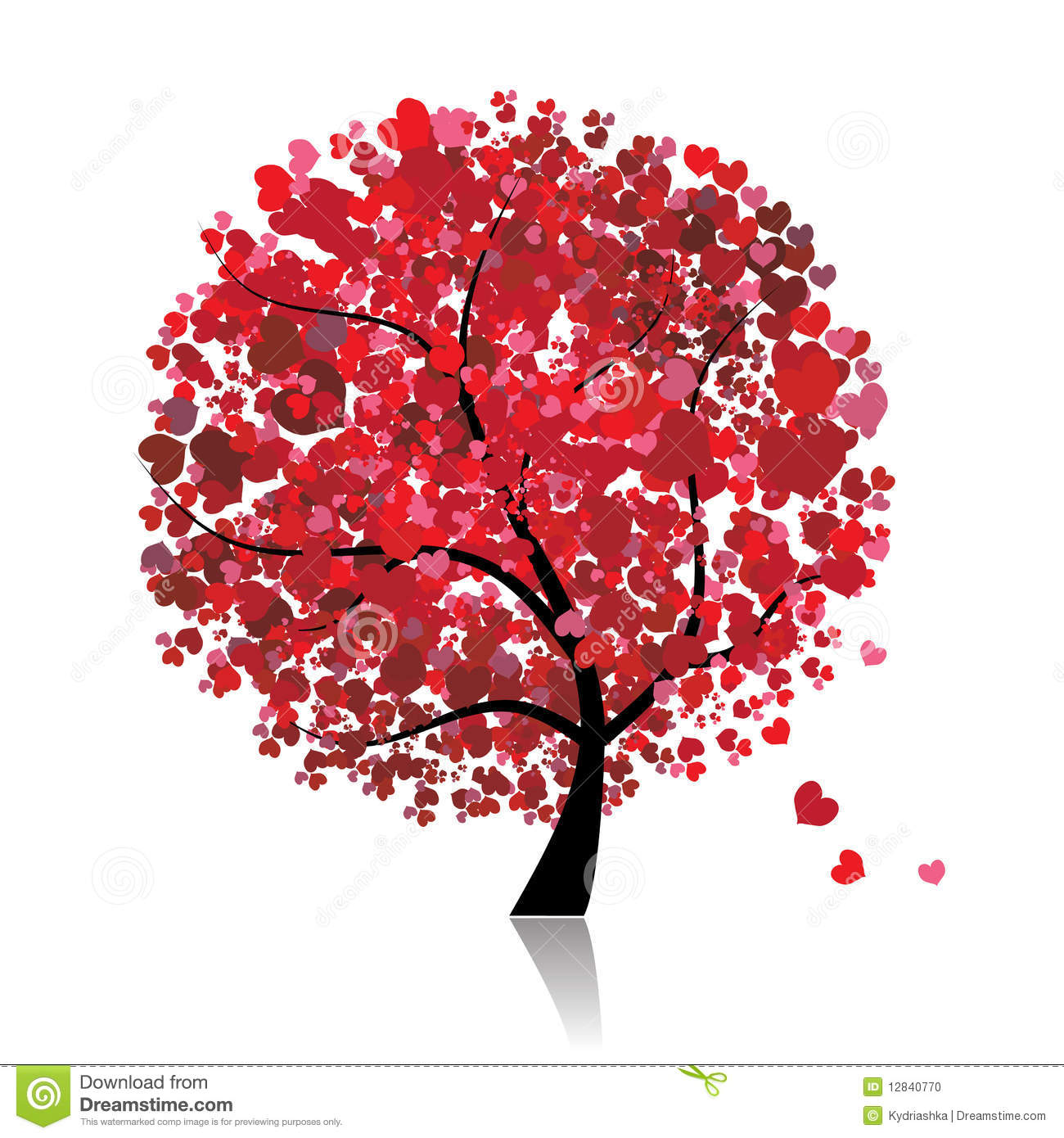 valentine tree  love  leaf from hearts stock photo
