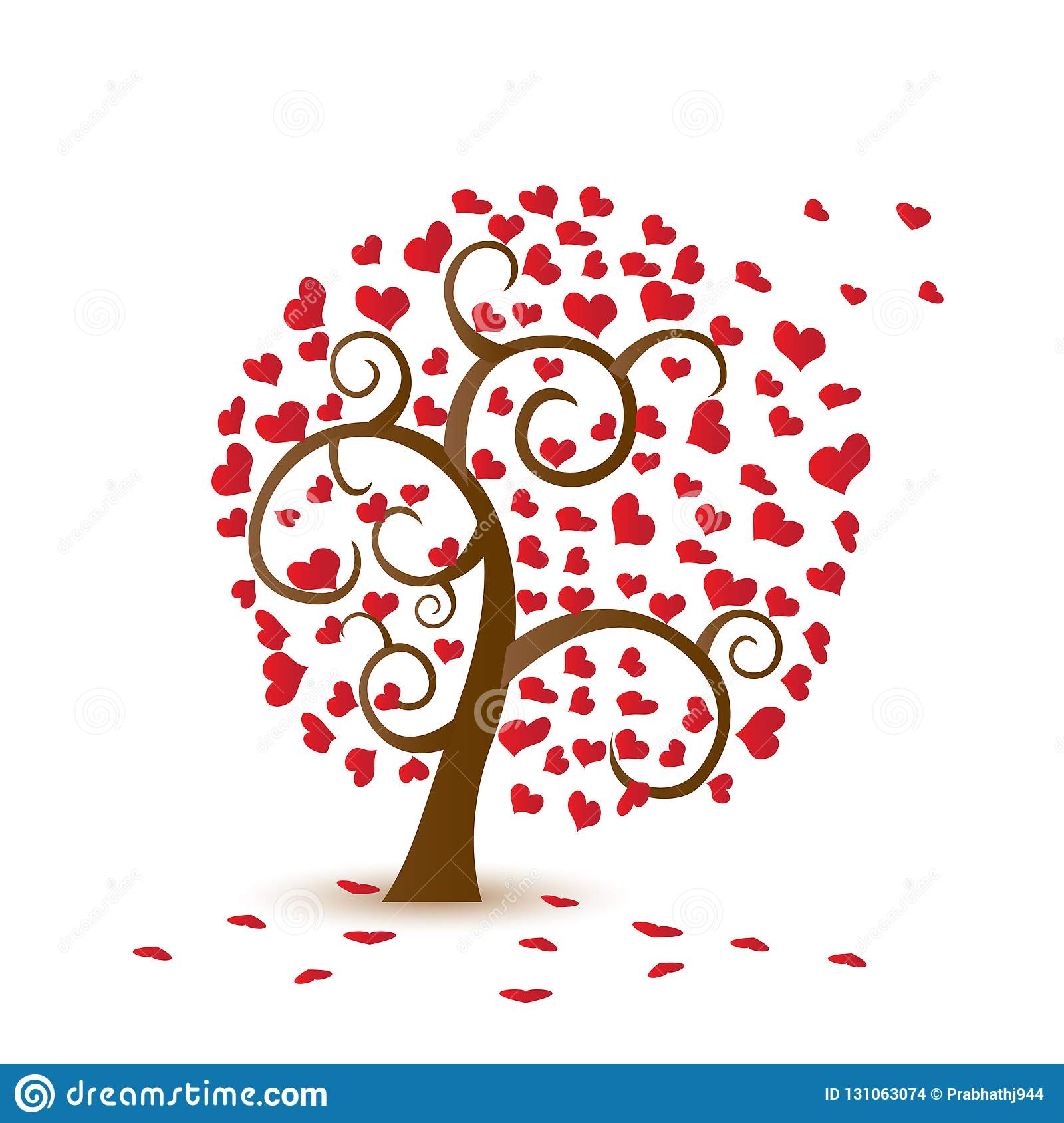 Valentine tree, love, leaf from hearts. Falling