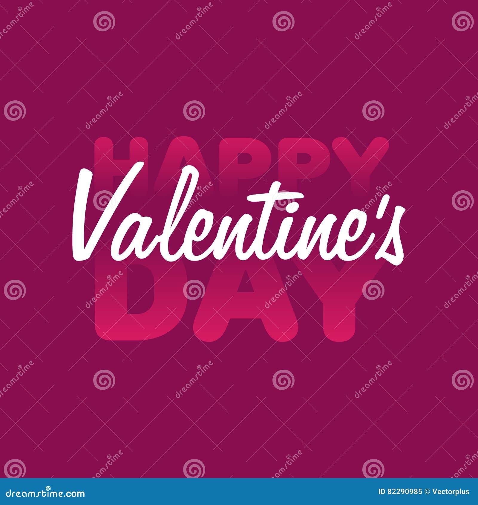 Valentine. Valentine Day and Love lettering illustration. White lettering on pink background. Postcard