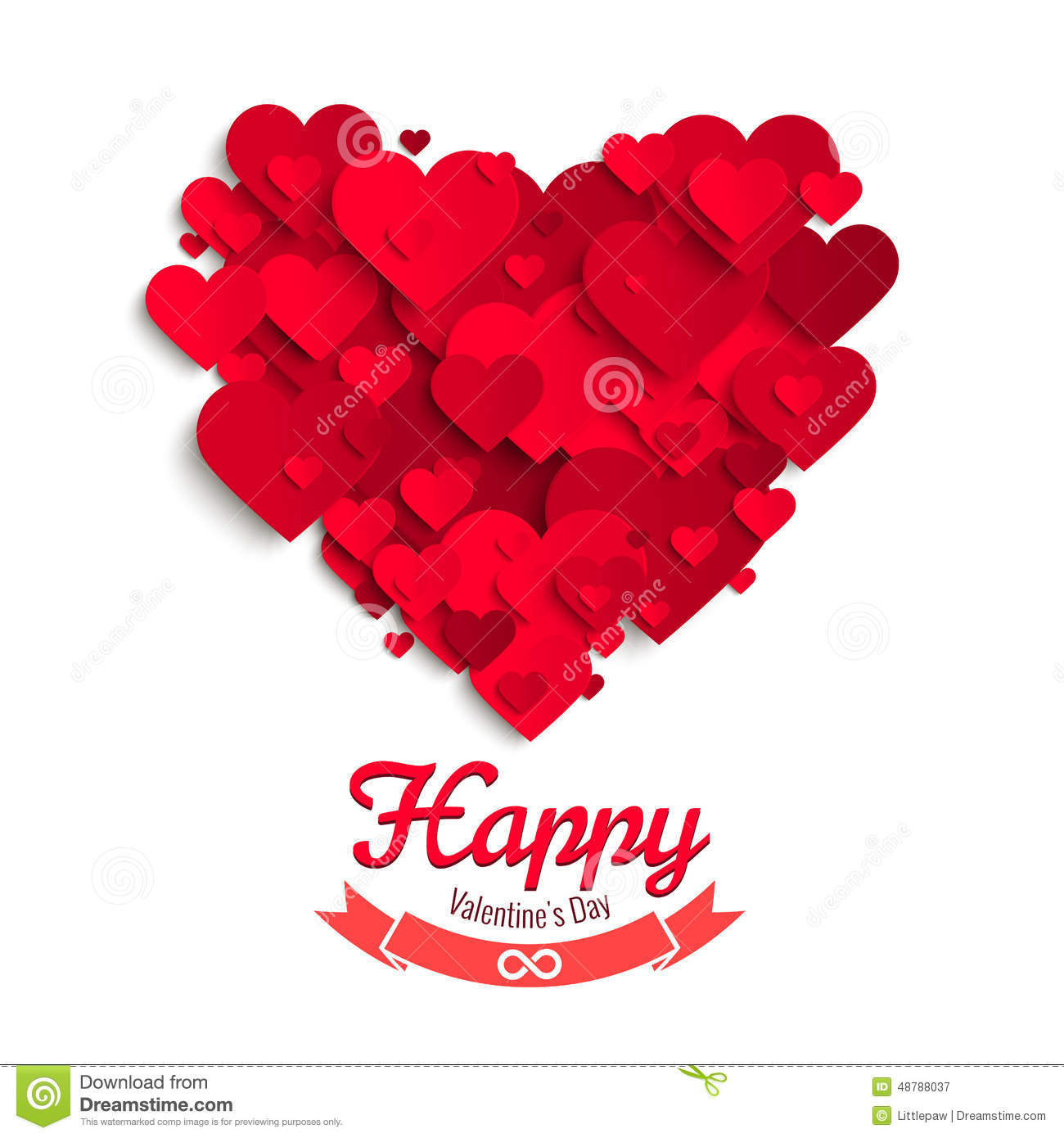 ... Paper Hearts, Greeting Card Template Stock Vector - Image: 48788037