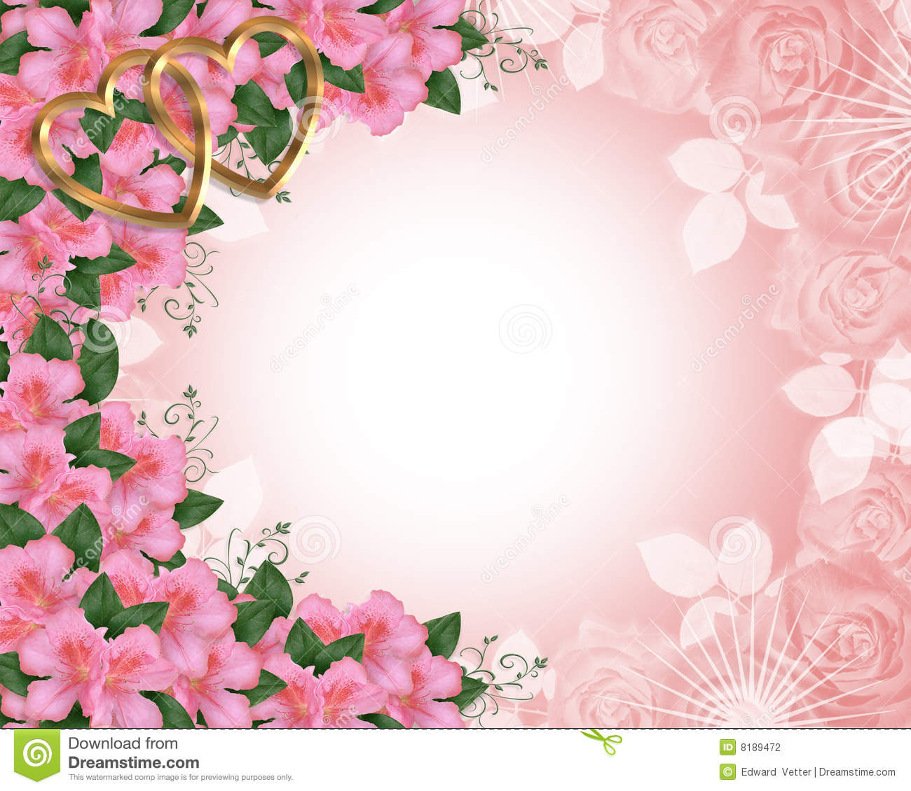 Valentine Or Wedding Border Pink Stock Illustration