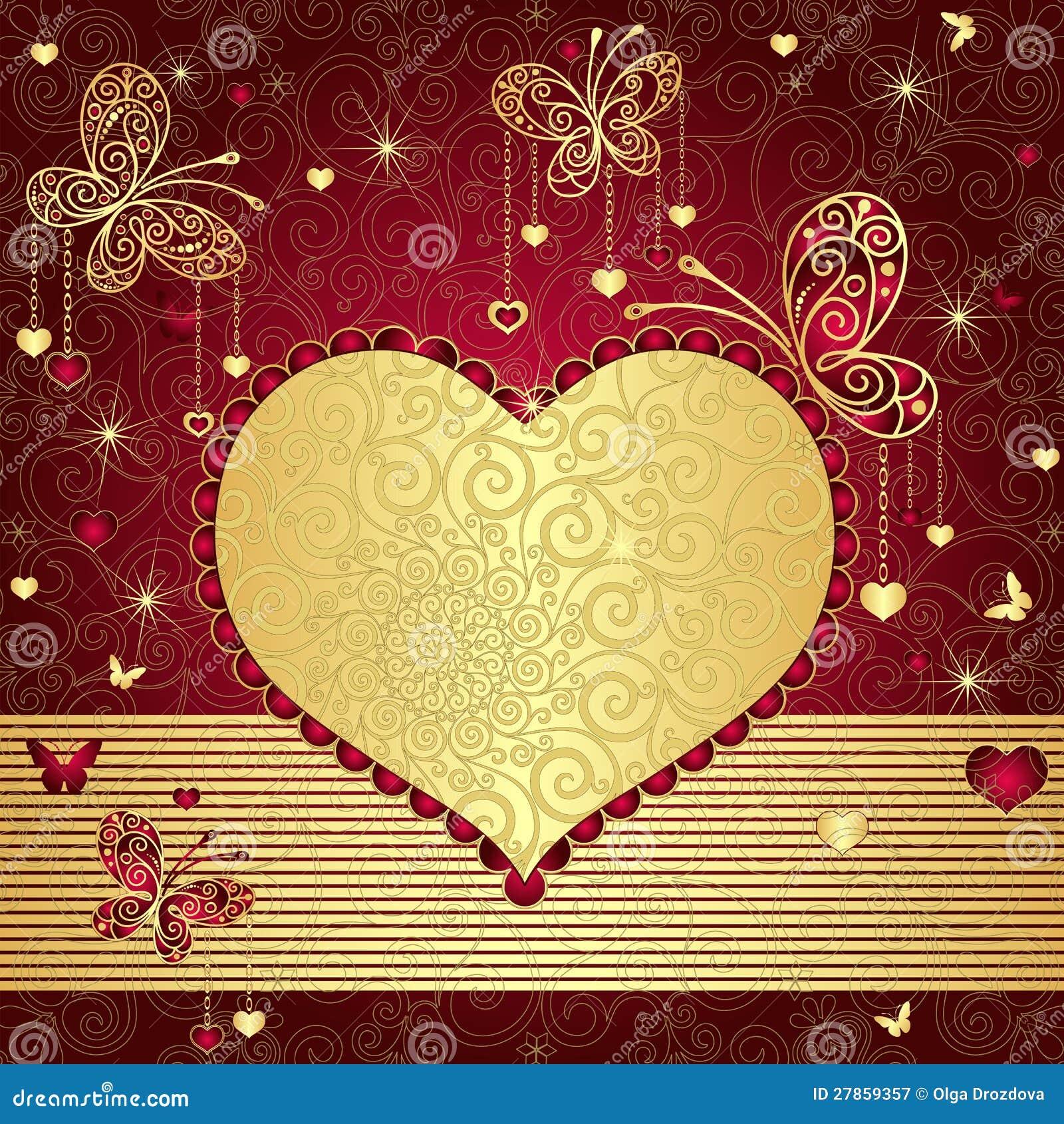 Valentine złocista i czerwona rama
