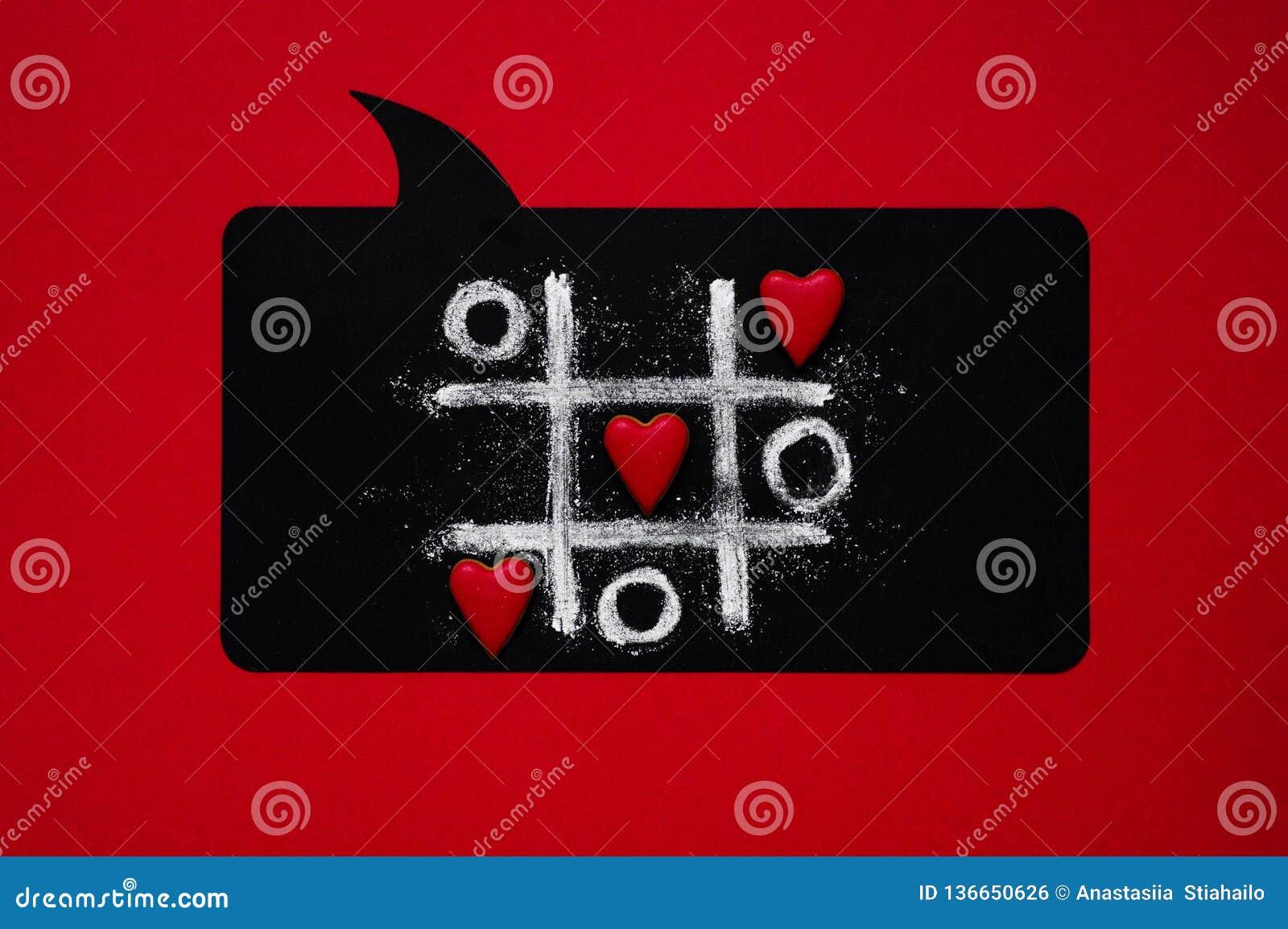 Valentiner för bakgrundsdaghjärta Valentindagbegrepp med leken för hjärtor X-O Begrepp för muskelryckningTac Toe lek ovanför sikt