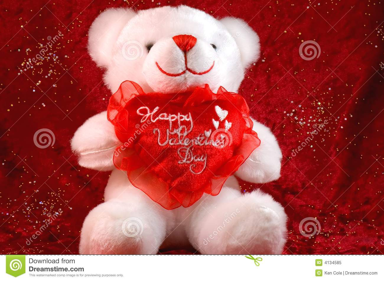 Valentines Bear On Red