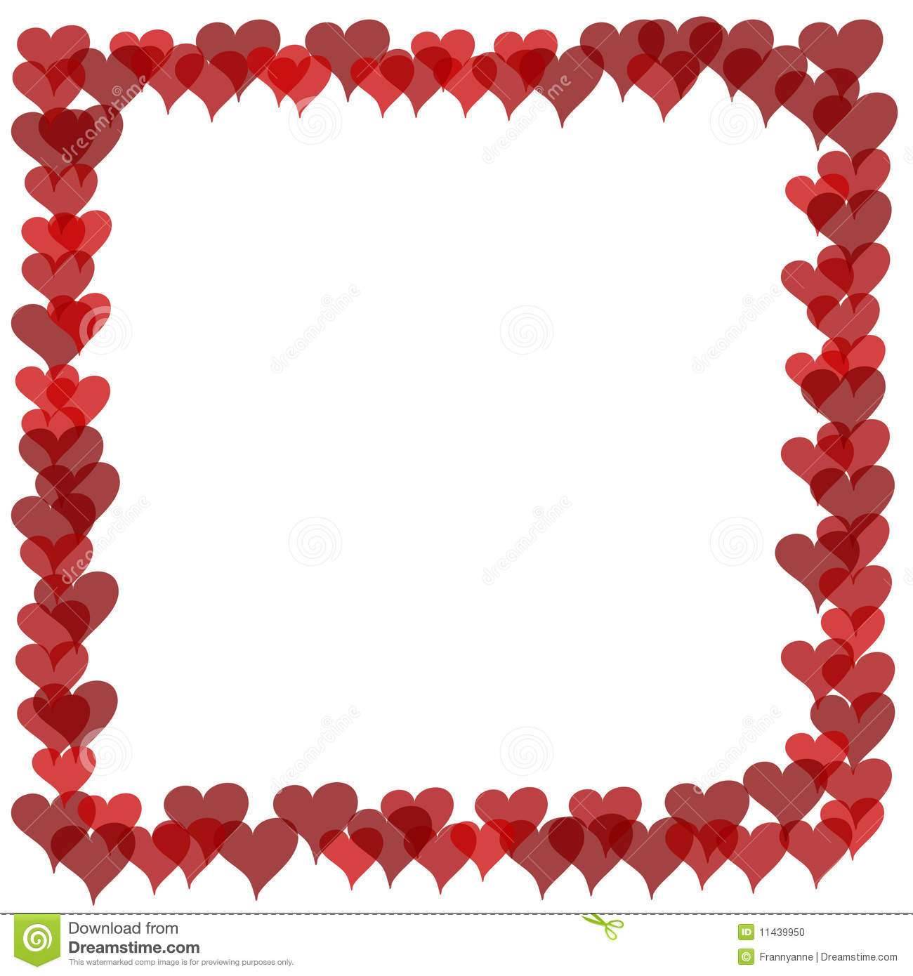 Valentines Border   Overlapping Hearts